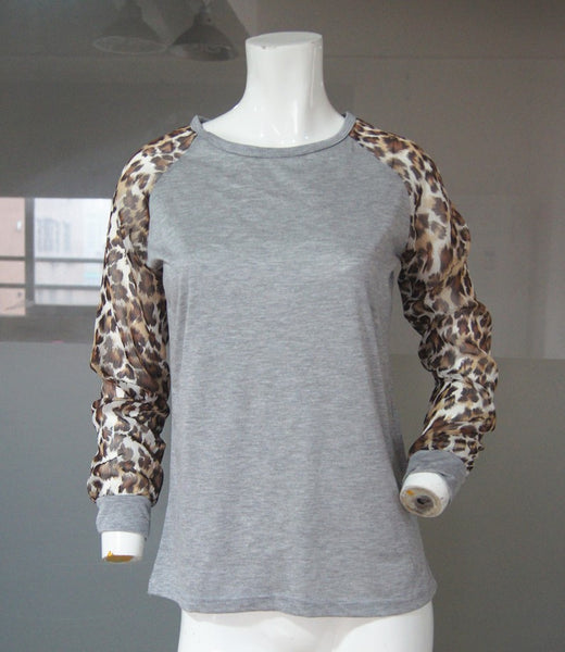 Leopard Print Long Sleeve Raglan for Sublimation