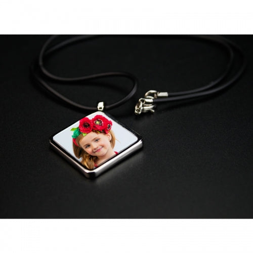 Sublimation Diamond Charm Necklace with Leather Cord