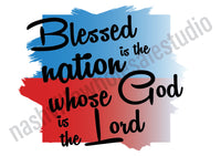 "Set of 3 pcs ""Blessed Is The Nation"" White Waffle Towels"