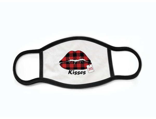 "Pack of 3 Face Masks with Filter Pocket ""Buffalo Plaid Kisses"""
