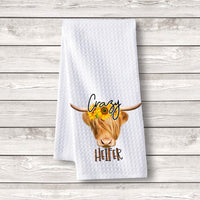 "Set of 3 pcs ""Crazy Heifer"" White Waffle Towels"