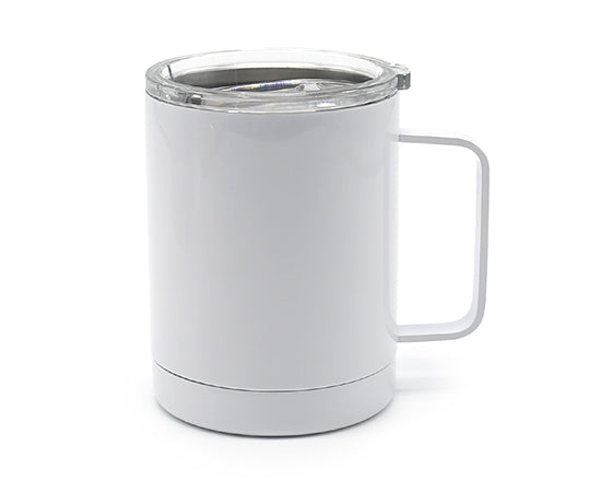 Stainless Steel or White Camping Cup with Handle & Lid
