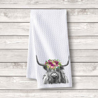 "Set of 3 pcs ""Highland Cow Flowers"" White Waffle Towels"