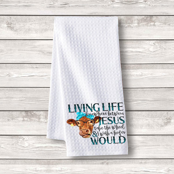 "Set of 3 pcs ""Living Cow"" White Waffle Towels"