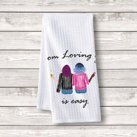 "Set of 3 pcs ""Mom loving you is easy"" White Waffle Towels"