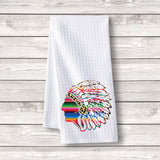 "Set of 3 pcs ""Native American"" White Waffle Towels"