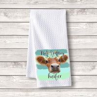 "Set of 3 pcs ""Not Today Heifer Blue Green"" White Waffle Towels"