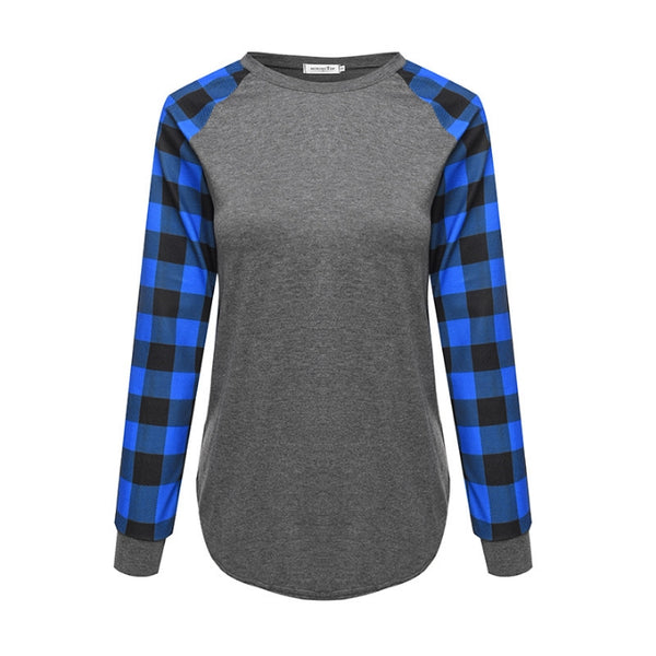 Buffalo Plaid Long Sleeve Grey Blue Raglan for Sublimation