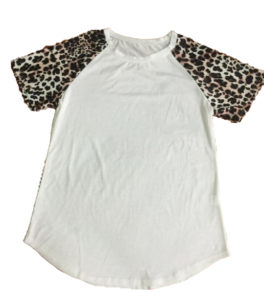 Leopard Print White T-shirt for Sublimation