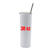* NEW * 30oz White Skinny Tumbler with Straw for Sublimation