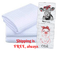 Pack of 10 - White Waffle Towels for Sublimation