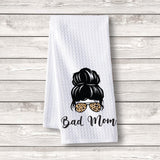 "Set of 3 pcs ""Bad Mom"" White Waffle Towels"
