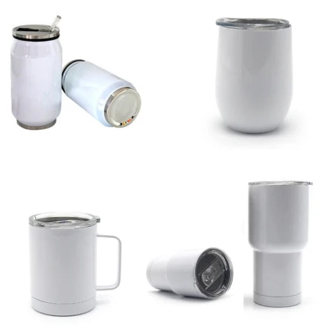 Bundle #3 - Sublimation Blanks: White Tumblers, Wine Cups and Cans