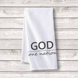 "Set of 3 pcs ""God One Nation"" White Waffle Towels"