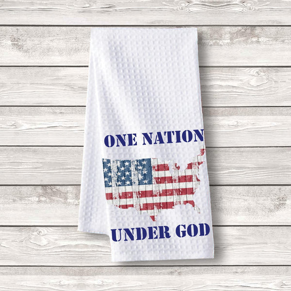 "Set of 3 pcs ""One Nation Under God map"" White Waffle Towels"