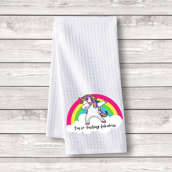 "Set of 3 pcs ""Unicorn Rainbow"" White Waffle Towels"