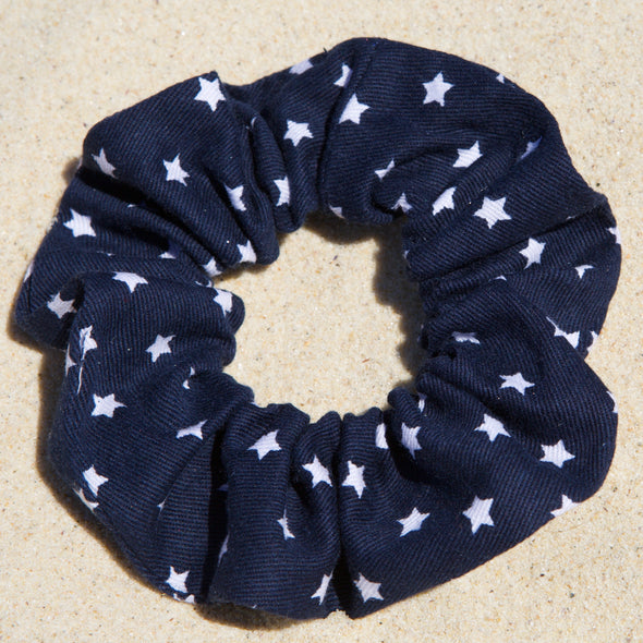 Navy cotton drill scrunchie with small white stars