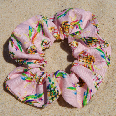 Pink scrunchie with colourful pineapple print