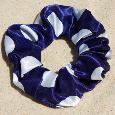 Navy satin scrunchie with large white spots