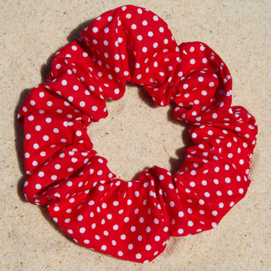 Red cotton fabric with mini white spots scrunchie