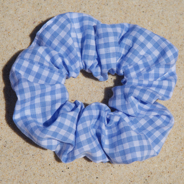 Light blue and white gingham cotton fabric