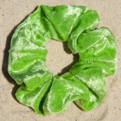 Bright lime green panne velvet scrunchie