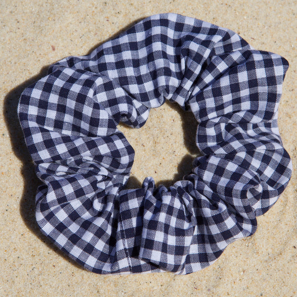Navy and white gingham scrunchies