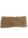 Knitted Headband - Light Coffee Cross