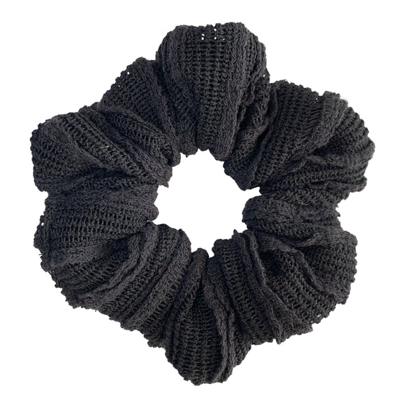 Scrunchies are back and they're here to stay! These stunning scrunchies look great in your hair and also work as gorgeous accessories.  Colour/Pattern: Black  Material: Cotton blend Washing instructions: Cold hand wash  Dimensions: Material width approximately 4 cm  Made by us in Bondi Beach  With love from Larzy xx