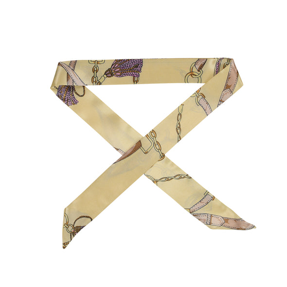 beige patterned satin hair scarf