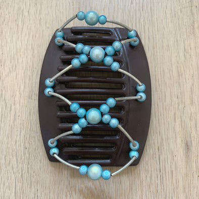 Large brown hair clips with blue beads