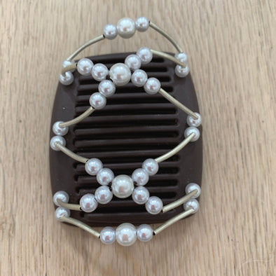 Fine brown hair clip with silver/white beads