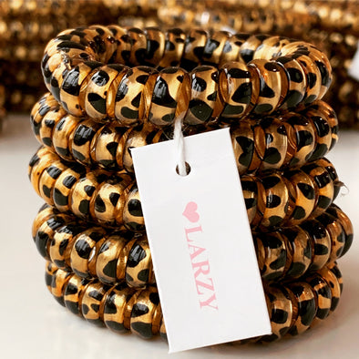 Animal Print Spiral Elastics - Set of 5