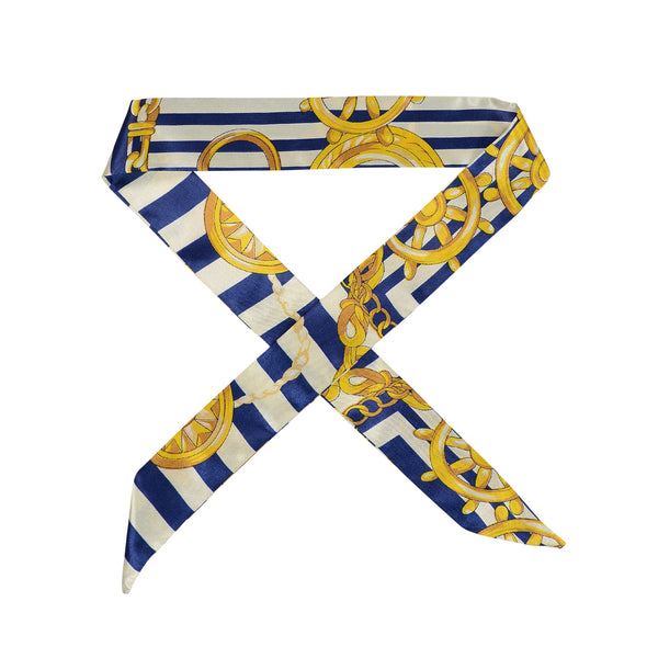 Gorgeous blue yellow and cream patterned satin hair scarf
