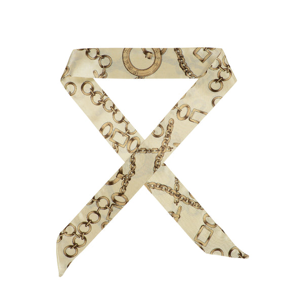 Gorgeous cream printed hair scarf