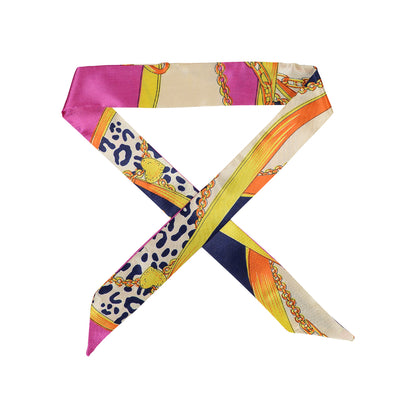 Gorgeous navy with hot pink and yellow pattern hair scarf