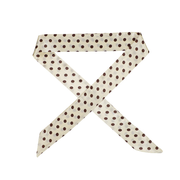Gorgeous white with brown spots satin hair scarf