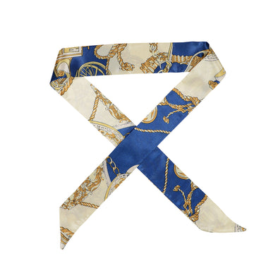 Gorgeous blue with gold and light cream pattern hair scarf
