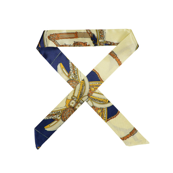 Gorgeous navy/cream satin printed hair scarf