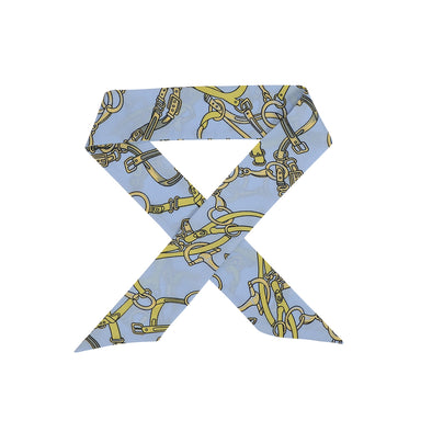 Gorgeous light blue and yellow pattern hair scarf