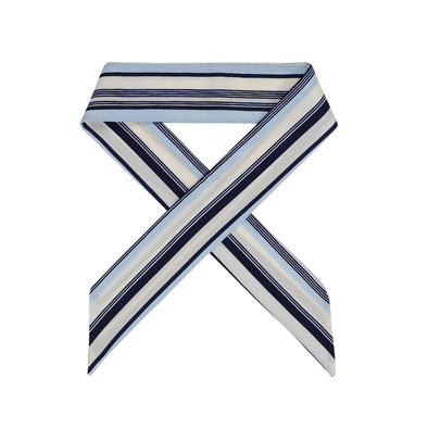 Gorgeous blue with black and white stripe hair scarf