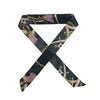 Gorgeous black satin printed hair scarf