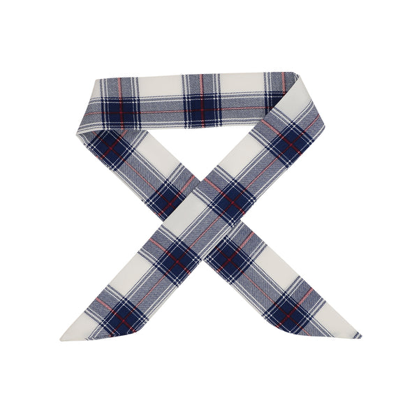 Gorgeous white with navy check hair scarf