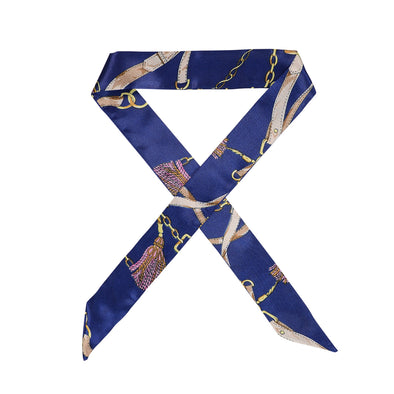 Gorgeous navy patterned hair scarf