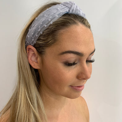 Love this! Gorgeous baby blue chiffon material headband with decorative dots.   Dimensions: Width 3cm, Height 15.5cm from top of headband to centre of bottom   One size.  Dresses up any outfit!