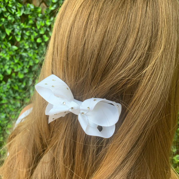 White Diamonte Bow