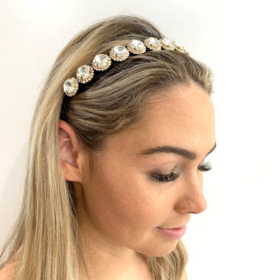 Stunning jewel headband.  Black headband with clear crystals surrounded by silver crystals set on a gold base.  Suitable for any occasion.
