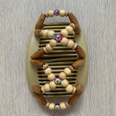 Medium blonde hair comb with natural colour wooden beading and holographic centre bead