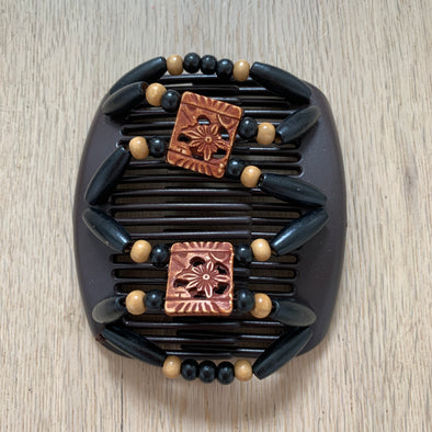 Medium brown hair clip with black outer beading, and wooden/decorative centre beading (2).
