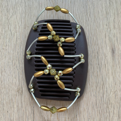 Medium brown hair clip with metallic outer beading and gold coloured decorative centre beads